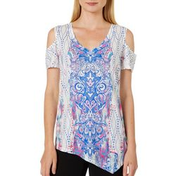 OneWorld Womens Mixed Print Asymmetrical Hem Top
