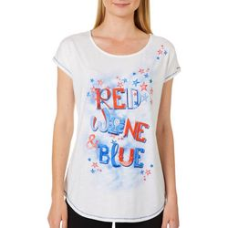 OneWorld Womens Embellished Red Wine & Blue Top