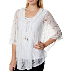 OneWorld Womens Lace Overlay Flutter Sleeve Poncho Top