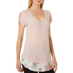 OneWorld Womens Solid Bohemian Garden Hem Top