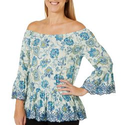 OneWorld Womens Embroidered Paisley Off The Shoulder Top