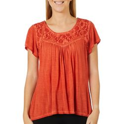 OneWorld Womens Solid Lace Panel Short Sleeve Top