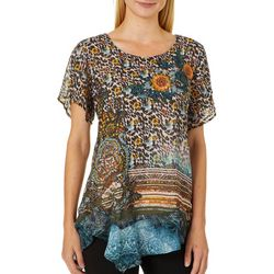 OneWorld Womens Mixed Animal Print Short Sleeve Top