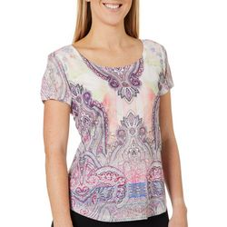OneWorld Womens Embellished Pretty Prase Short Sleeve Top