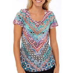 OneWorld Womens Mixed Geometric Print Short Sleeve Top