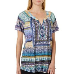 OneWorld Womens Magnificent Mixed Paisley Top