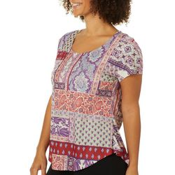 OneWorld Womens Boho Candy Jeweled Scoop Neck Top