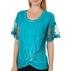 OneWorld Womens Solid Mesh Sleeve Twist Front Top