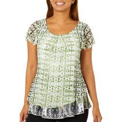 OneWorld Womens Elegant Structure Mixed Print Top