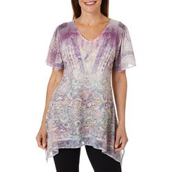 OneWorld Womens Embellished Paisley Theater Top