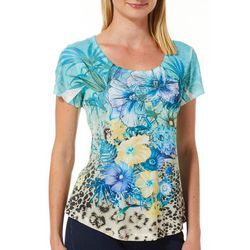 OneWorld Womens Tropical Water Jeweled Scoop Neck Top