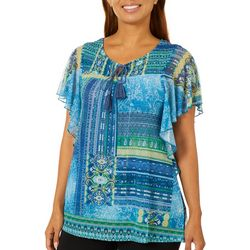 OneWorld Womens Dancing Dame Mixed Print Flutter Sleeve Top
