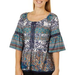 OneWorld Womens Mixed Boho Print Bell Sleeve Top