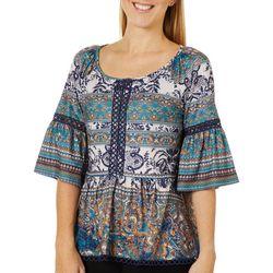 OneWorld Womens Mixed Boho Print Bell Sleeve Top