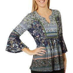 OneWorld Womens Mixed Boho Print Split Neck Top
