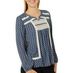 OneWorld Womens Daisy Print Long Sleeve Top