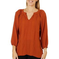 OneWorld Womens Solid Eyelet Detail Long Sleeve Top