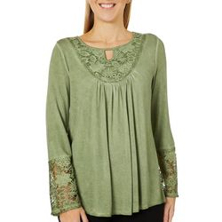OneWorld Womens Solid Mineral Wash Lace Long Sleeve Top