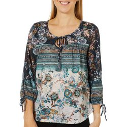 OneWorld Womens Mixed Floral Keyhole Tassel Detail Top