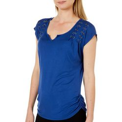 OneWorld Womens Solid Grommet Detail Short Sleeve Top
