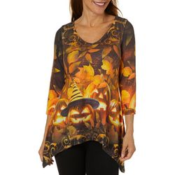 OneWorld Womens Pumpkin Games Jewel Embellished Top