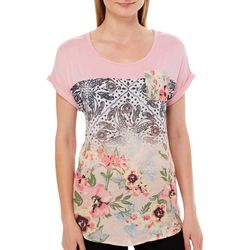 OneWorld Womens Chest Pocket Floral Paisley Print Top