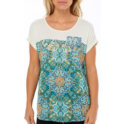 OneWorld Womens Moroccan Terrace Printed Pocket Top
