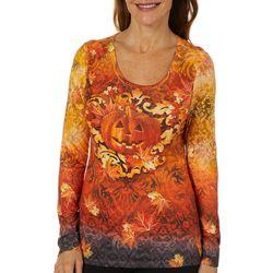 OneWorld Womens Pumpkin Maze Jewel Embellished Top
