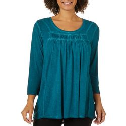 OneWorld Womens Solid Mineral Wash Top