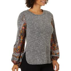 OneWorld Womens Spicy Rumor Mixed Print Top