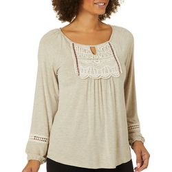 OneWorld Womens Solid Crochet Detail Long Sleeve Top