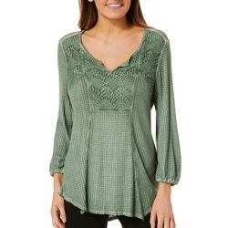 OneWorld Womens Textured Crochet Top