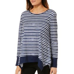 OneWorld Womens Striped Hankerchief Hem Top
