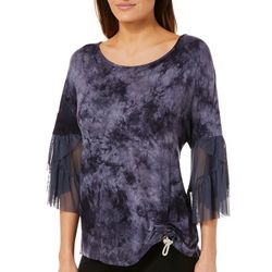 OneWorld Womens Ruched Tie Dye Mesh Sleeve Top