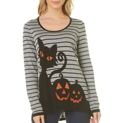 OneWorld Womens Embellished Spooky Striped Sweater