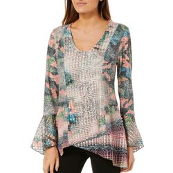 OneWorld Womens Abstract Crochet Bell Sleeve Top
