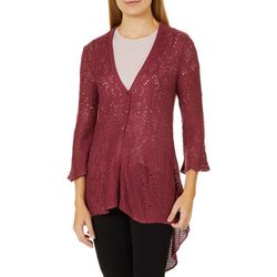 OneWorld Womens Open Knit High-Low Cardigan