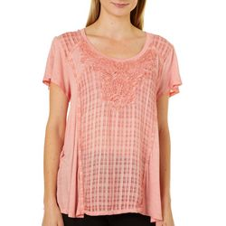 OneWorld Womens Plaid Crochet Short Sleeve Top