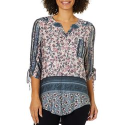 OneWorld Womens Mixed Floral Tie Sleeve Top