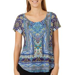 OneWorld Womens Floral Paisley Jeweled Short Sleeve Top