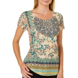 OneWorld Womens Dreamy Trellis Short Sleeve Top