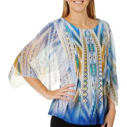 OneWorld Womens Geometric Print Sheer Sleeve Top