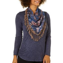 OneWorld Womens Scarf & Ruched Long Sleeve Top
