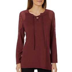 OneWorld Womens Lace-Up Long Sleeve Top