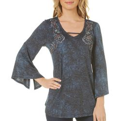 OneWorld Womens Embroidered Floral Bell Sleeve Top