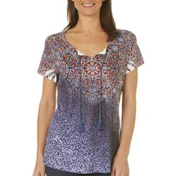 OneWorld Womens Floral Paisley Tassel Top