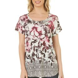 OneWorld Womens Floral Medallion Border Print Top