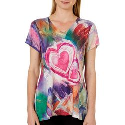 OneWorld Womens Embellished Abstract Heart High-Low Top