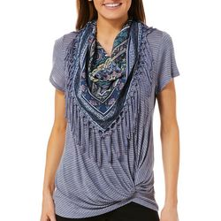 OneWorld Womens Scarf & Striped Twist Front Top