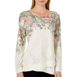 OneWorld Womens Foral  Eyelet Long Sleeve Top